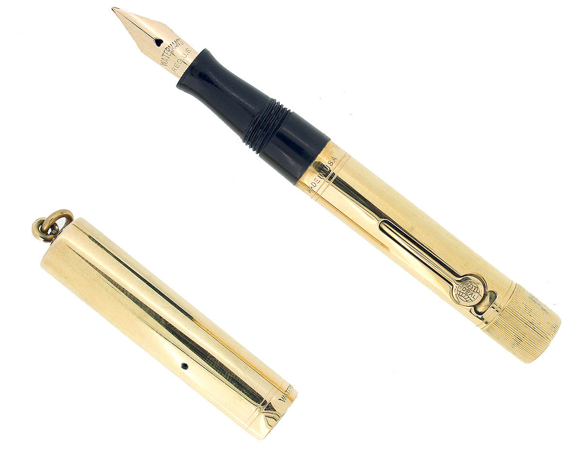 C1917 WATERMAN SMOOTH 18K GOLD FILLED 0552 1/2V F-BBB NIB FOUNTAIN PEN RESTORED OFFERED BY ANTIQUE DIGGER