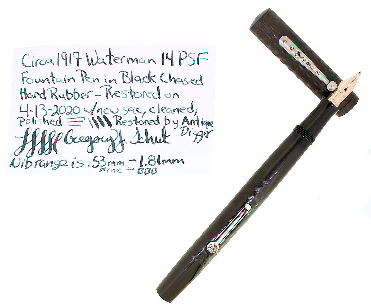 C1915 WATERMAN 14 PSF BLACK CHASED HARD RUBBER FOUNTAIN PEN RESTORED EXCELLENT OFFERED BY ANTIQUE DIGGER