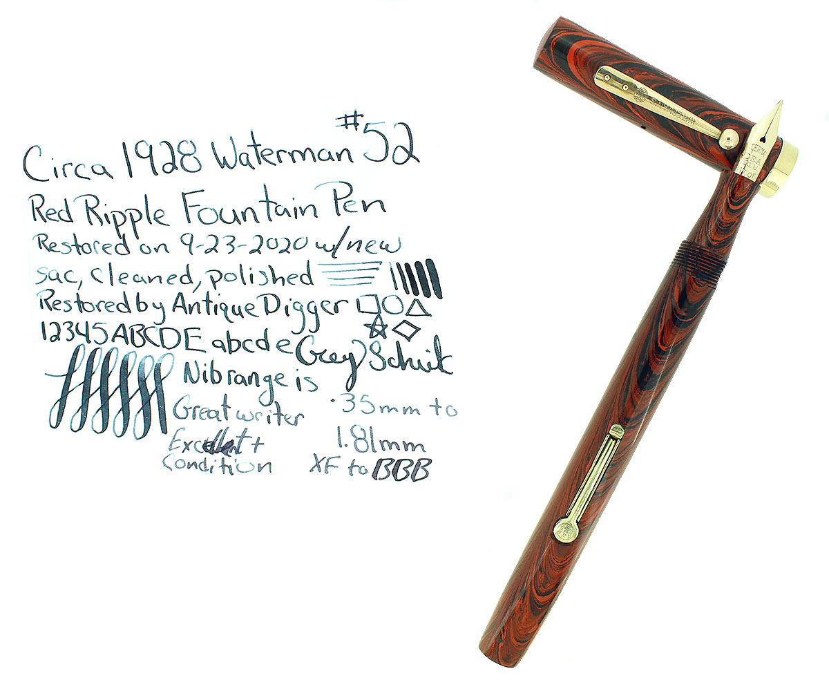 1920S WATERMAN #52 RED RIPPLE FOUNTAIN PEN XF-BBB FLEX NIB RESTORED OFFERED BY ANTIQUE DIGGER