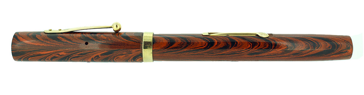 C1929 WATERMAN 52 RED RIPPLE FOUNTAIN PEN NEW OLD STOCK MINT STICKERED OFFERED BY ANTIQUE DIGGER