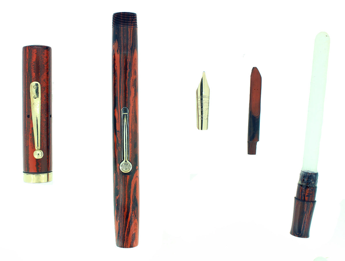 1920S WATERMAN #52 WOOD GRAIN FOUNTAIN PEN M-BBB FLEX NIB RESTORED OFFERED BY ANTIQUE DIGGER