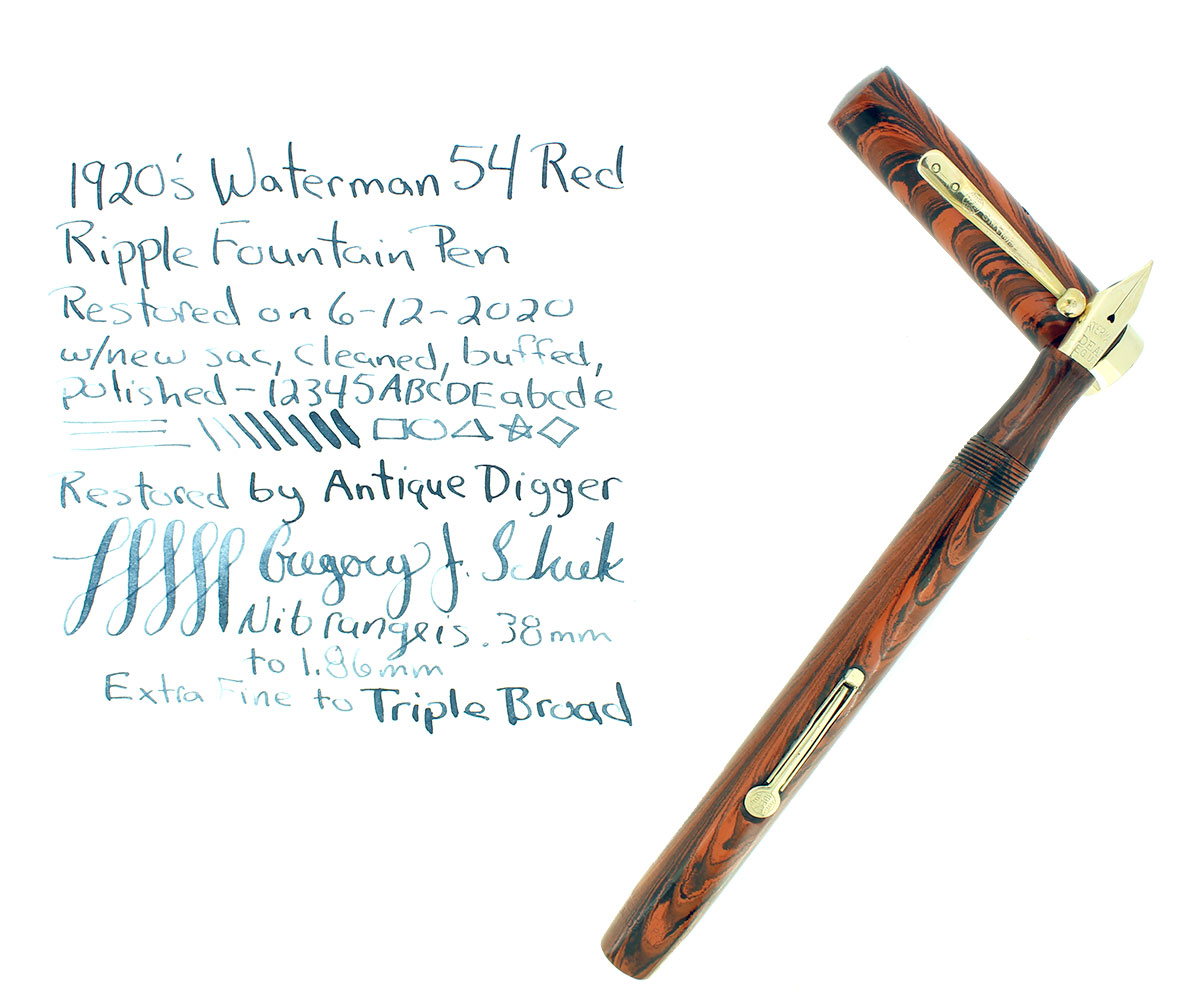 1920s WATERMAN 54 RED RIPPLE XF-BBB FLEX NIB FOUNTAIN PEN RESTORED OFFERED BY ANTIQUE DIGGER