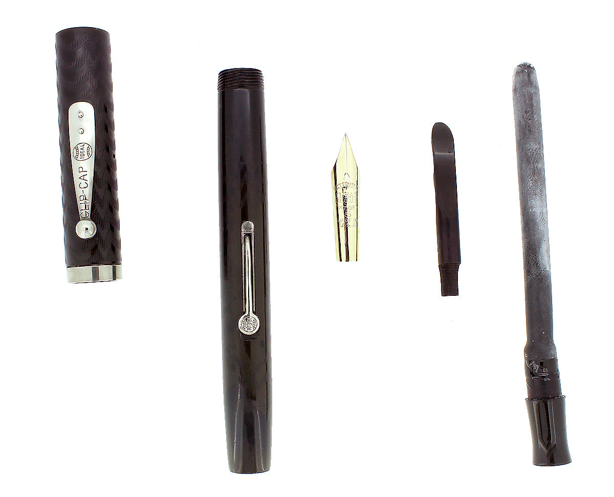 C1922 WATERMAN #55 BLACK CHASED HARD RUBBER F-BBB FLEX NIB FOUNTAIN PEN RESTORED OFFERED BY ANTIQUE DIGGER