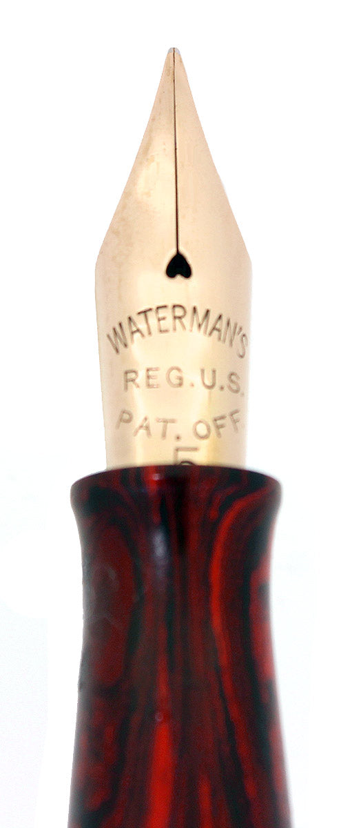 CIRCA 1925 WATERMAN #55 WOOD GRAIN FOUNTAIN PEN F-BBB 2.17MM FLEX NIB RESTORED OFFERED BY ANTIQUE DIGGER