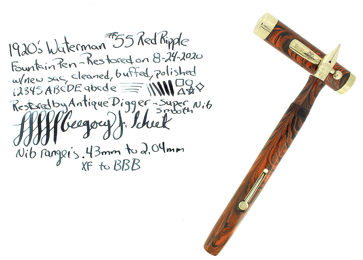 1920S WATERMAN 55 RED RIPPLE FOUNTAIN PEN XF TO BBB FLEXIBLE NIB RESTORED OFFERED BY ANTIQUE DIGGER