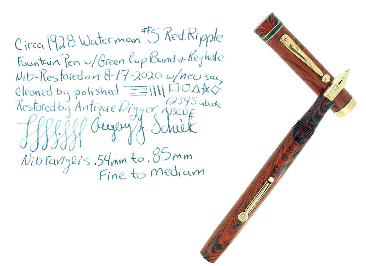 1920S WATERMAN #5 RED RIPPLE GREEN CAP BAND & KEYHOLE NIB FOUNTAIN PEN RESTORED OFFERED BY ANTIQUE DIGGER