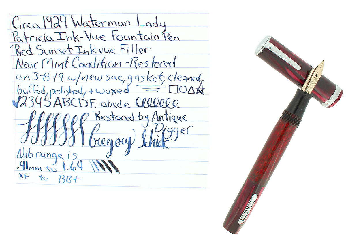 CIRCA 1929 WATERMAN LADY PATRICIA INK VUE SUNSET RED FOUNTAIN PEN RESTORED OFFERED BY ANTIQUE DIGGER