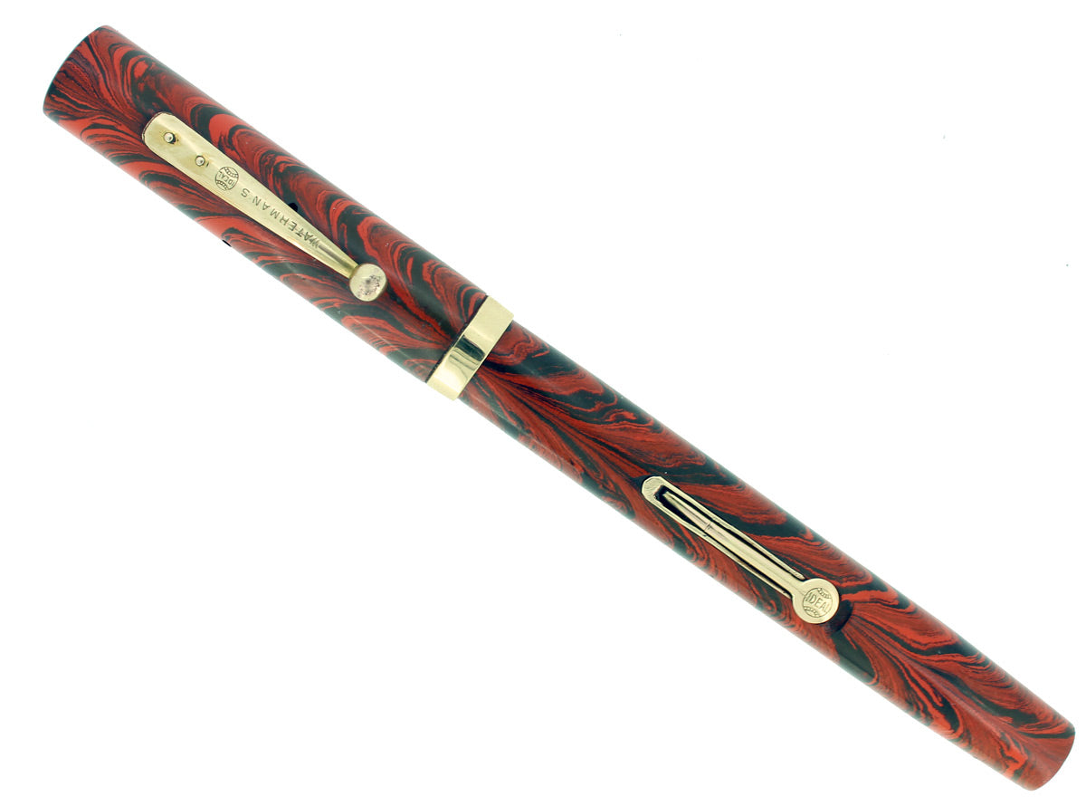 1920S WATERMAN #52 RED RIPPLE FOUNTAIN PEN RARE MUSIC NIB RESTORED OFFERED BY ANTIQUE DIGGER