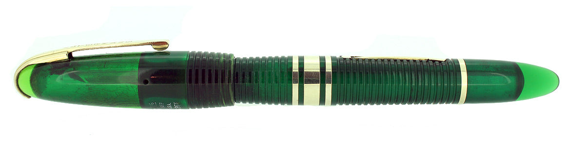 1939 FIRST YEAR GREEN WATERMAN 100 YEAR FOUNTAIN PEN F-BB SEMI-FLEX NIB RESTORED OFFERED BY ANTIQUE DIGGER