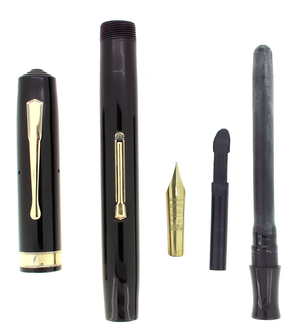 C1930 WATERMAN #7 BLACK CELLULOID PINK KEYHOLE XF-BBB NIB FOUNTAIN PEN RESTORED OFFERED BY ANTIQUE DIGGER