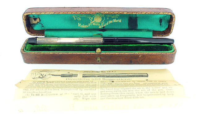 1902 WATERMAN 522 BHR TAPER CAP 9CT BARLEYCORN PATTERN EYEDROPPER FOUNTAIN PEN OFFERED BY ANTIQUE DIGGER