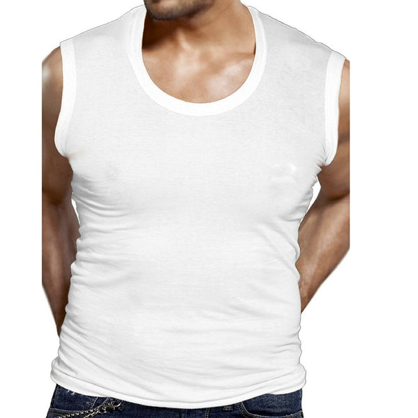 Gym Vest Broad Shoulder,White Color, Premium Combed Cotton