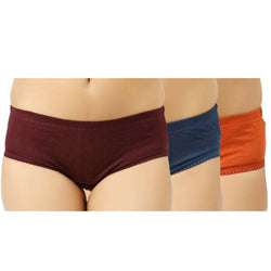 Cotton Fa Womens Hipster(Pack Of Three) Colors May Vary, Panties Pack,Smooth Cotton Hosiery