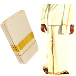 Infant Yogi™  Kasavu Dhoti For Men, Double Mundu, Pure Cotton Offwhite Color