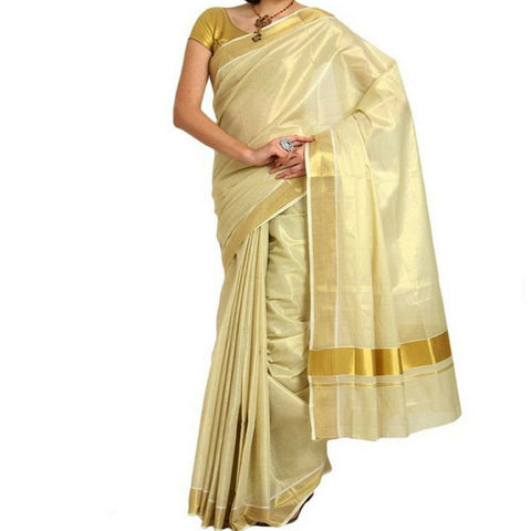 Infant Yogi™ Canannore Handloom Full Tissue Kasavu Saree with Added Blouse Piece, 3 inch KasavuBorder, Golden Glazing Fabric, Elegant Traditional Look, Royal Tissue Kasavu Saree with Extra Length Blouse Piece