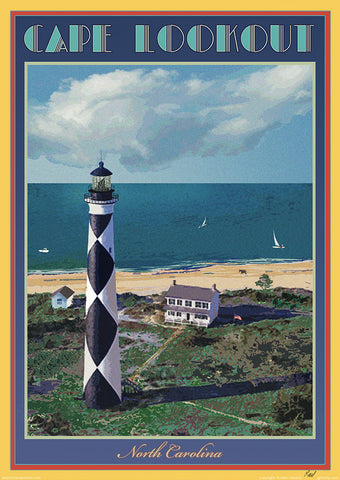 Point Reyes Lighthouse-Vintage Art Deco Style Travel Poster-by Aurelio Grisanty