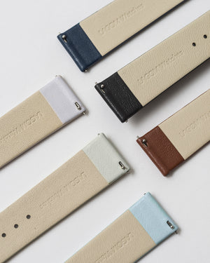 Premium Italain Leather Strap - Dark Grey