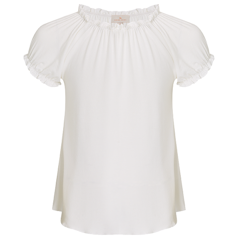 Girls Smock Top - Alabaster White