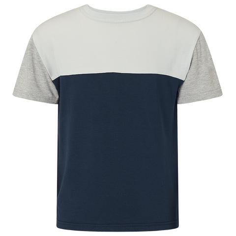 Boys Two Tone Short Sleeve T-Shirt - Pacific Navy/Washed Stone/Light grey