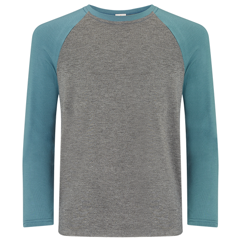 Boys Raglan Two Tone T-Shirt - Stormy Skies/Mid Grey