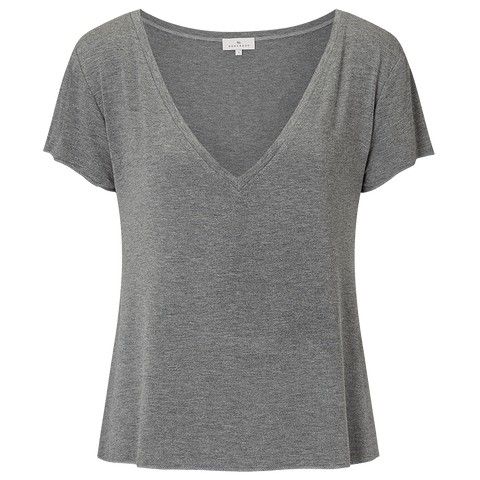 Relaxed V-Neck Tee - Mid Grey