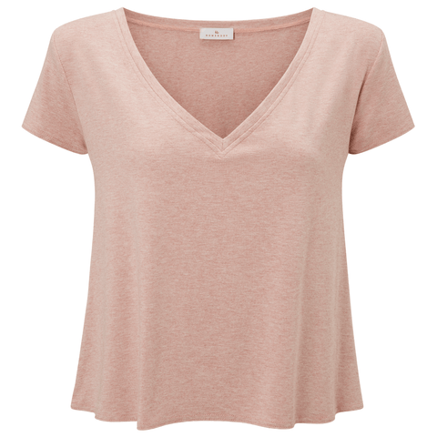 Slouchy Lounge V-Neck Jersey T-shirt - Pink Marl