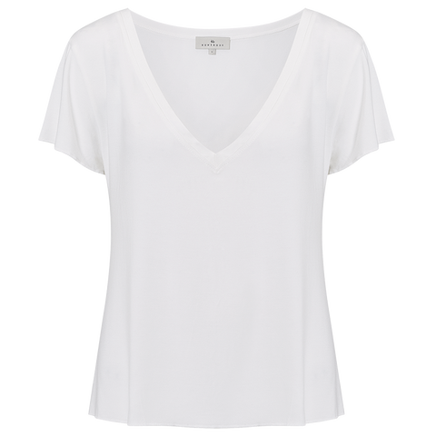 Relaxed V-Neck Tee - Alabaster White