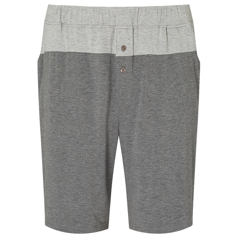 Colour Block Pyjama Shorts - Mid Grey/Light Grey