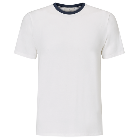 Contrast Short Sleeve T-Shirt - Alabaster White/Navy