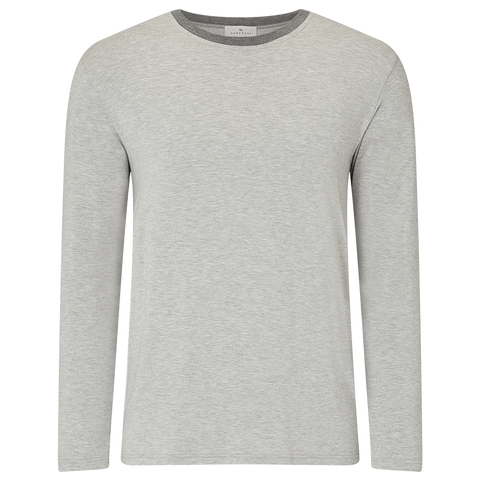 Contrast Long Sleeve Pyjama T-Shirt - Light Grey/Mid Grey