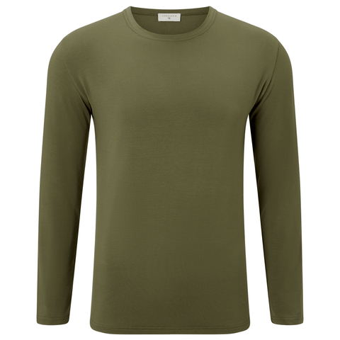 Long Sleeve Round Neck Jersey T-shirt - Khaki Camo