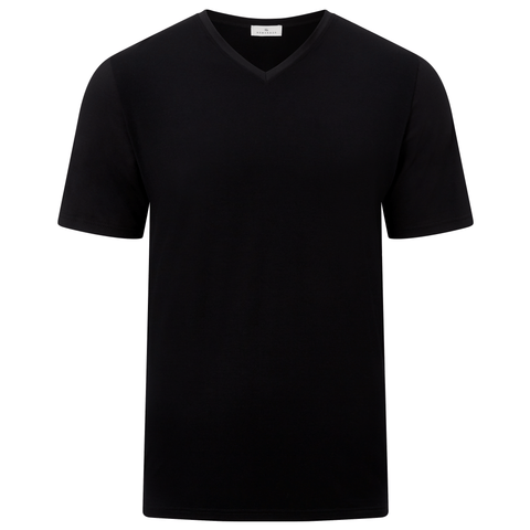 Classic V-Neck Short Sleeve Jersey T-shirt - Black