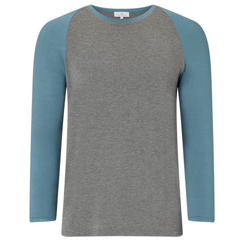 Raglan Long Sleeve Pyjama T-Shirt - Mid Grey/Stormy Skies