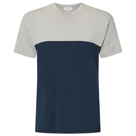 Two Tone Short Sleeve T-Shirt - Pacific Navy/Light Grey