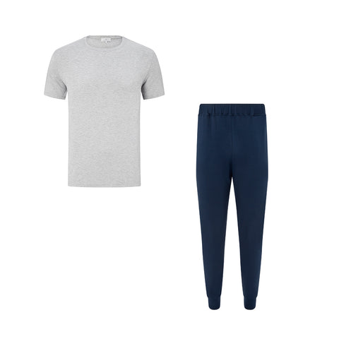 SET - Classic Short Sleeve Light Grey T-shirt/ Cuffed Trouser Pyjama