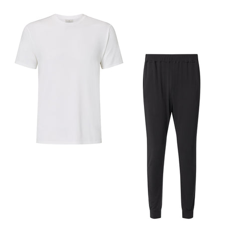 SET - Classic Short Sleeve White T-shirt/ Cuffed Trouser Pyjama