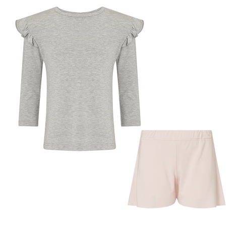 SET - Girls Longsleeve Frill Top / Flippy Shorts