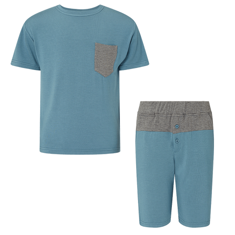 SET - Boys Pocket T-Shirt / Boys Colour Block Shorts