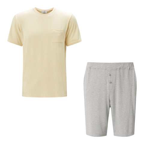 SET- Classic Yellow Short Sleeve T-Shirt / Shorts Pyjama