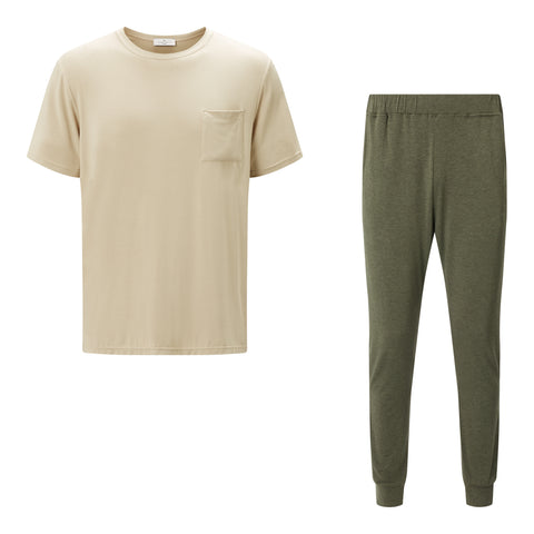 SET - Classic Short Sleeve Beige T-shirt/ Cuffed Trouser Pyjama