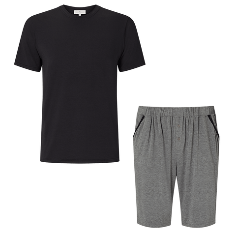 SET - Classic Short Sleeve T-Shirt / Contrast Shorts Pyjama