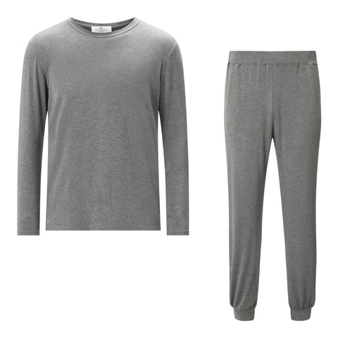SET - Classic Long Sleeve Mid Grey T-shirt/ Cuffed Trouser Pyjama