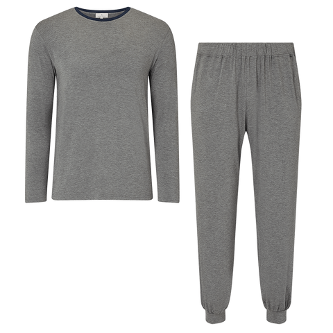 SET - Contrast Long Sleeved T-Shirt/ Trackie Cuffed Trouser Pyjama