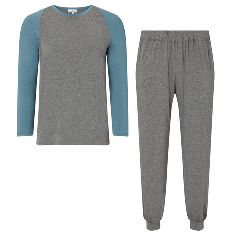 SET - Raglan Two Tone T-Shirt / Trackie Cuff Trouser Pyjama