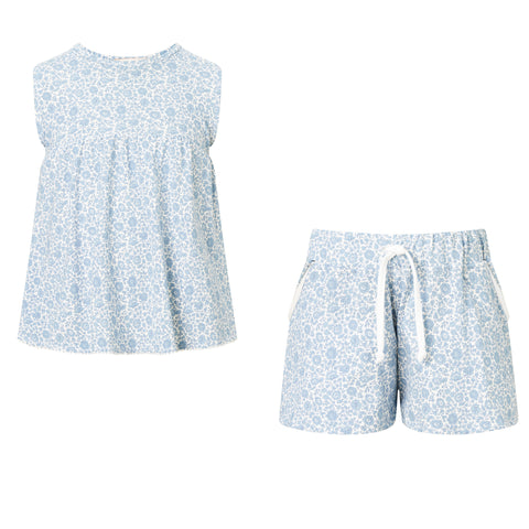SET - Girls Liberty Floral Print vest/Floral Print Shorts