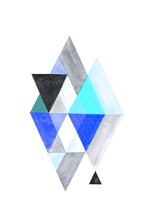 Fine Art Instant Download Geo Watercolor Triangles