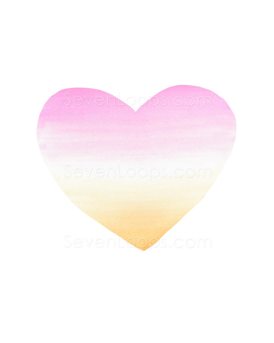 Fine Art Instant Download Ombre Heart Sunset