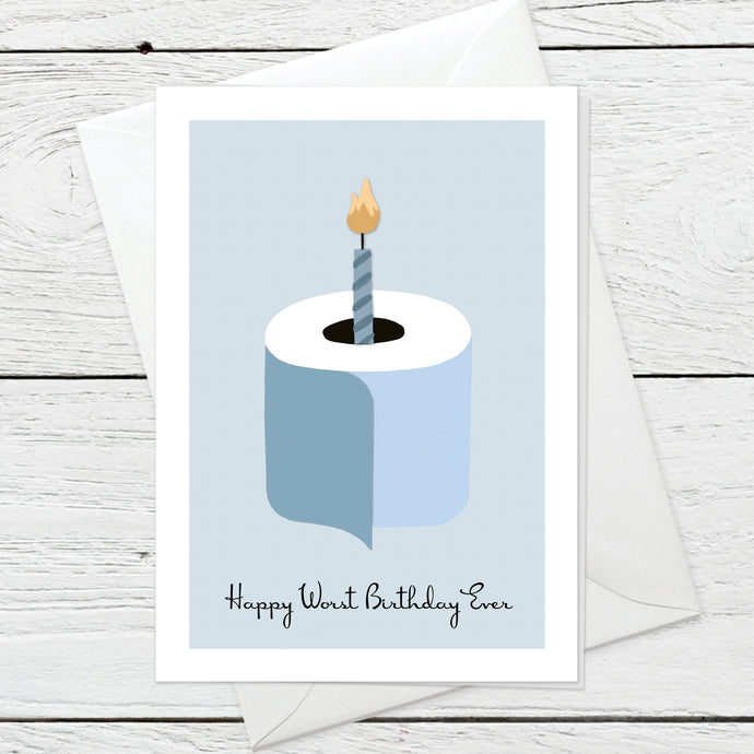 Blue Birthday greeting card instant digital download