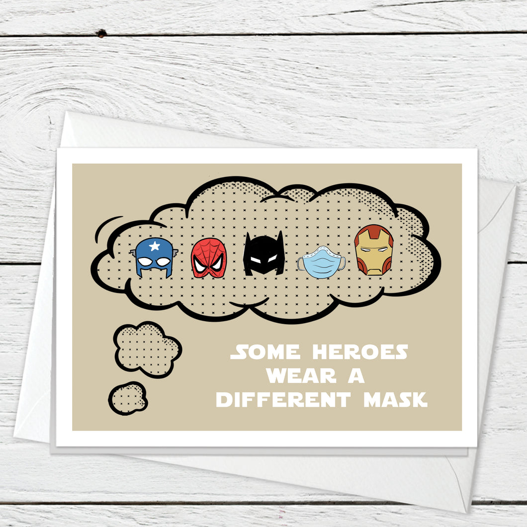 Hero Masks greeting card instant digital download
