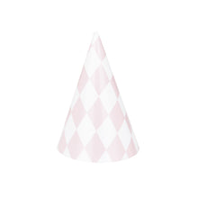 Pale pink diamond party hats, 8 pk